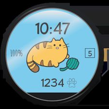 Взломанная Fit Cat - Watch Face (Взлом на монеты) на Андроид